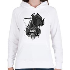 PRINTFASHION soha ne veszítsd el önmagad - Női kapucnis pulóver - Fehér