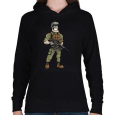 PRINTFASHION Soldier - Női kapucnis pulóver - Fekete