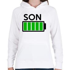 PRINTFASHION SON - Női kapucnis pulóver - Fehér