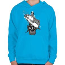 PRINTFASHION Sör és hal - Gyerek kapucnis pulóver - Azúrkék