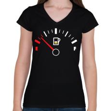 PRINTFASHION Sör Tank - Női V-nyakú póló - Fekete