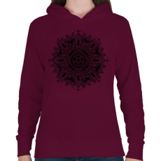 PRINTFASHION Sötét csillag - Női kapucnis pulóver - Bordó