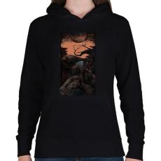 PRINTFASHION Sötét egyszarvú - Női kapucnis pulóver - Fekete