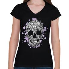 PRINTFASHION Spagetti koponya - Női V-nyakú póló - Fekete