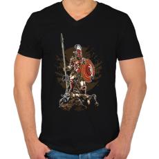 PRINTFASHION Sparta - Férfi V-nyakú póló - Fekete