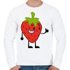 PRINTFASHION Strawberry  - Férfi pulóver - Fehér