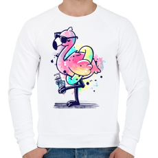 PRINTFASHION Summer Flamingo - Férfi pulóver - Fehér