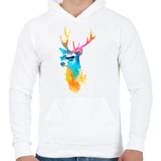 PRINTFASHION Sunny stag - Férfi kapucnis pulóver - Fehér
