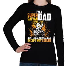 PRINTFASHION Super Saiyan Dad - Női hosszú ujjú póló - Fekete