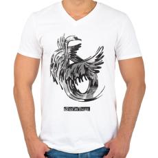 PRINTFASHION Swan - Férfi V-nyakú póló - Fehér