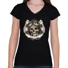 PRINTFASHION Szabadnak született - Női V-nyakú póló - Fekete