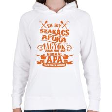 PRINTFASHION Szakács apuka - Női kapucnis pulóver - Fehér