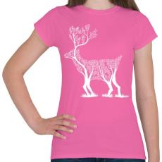 PRINTFASHION Szarvas fa - Női póló - Rózsaszín