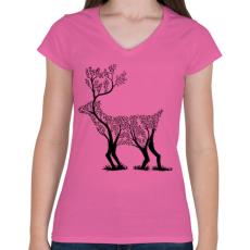 PRINTFASHION Szarvas fa  - Női V-nyakú póló - Rózsaszín