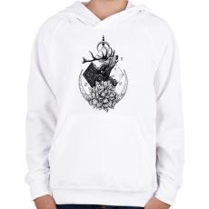 PRINTFASHION Szent szarvas  - Gyerek kapucnis pulóver - Fehér