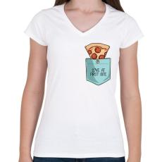 PRINTFASHION Szerelem első harapásra - Női V-nyakú póló - Fehér