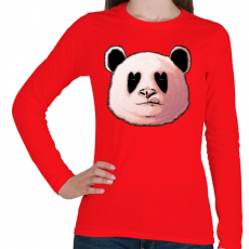 PRINTFASHION Szerelmes panda - Női hosszú ujjú póló - Piros