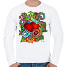 PRINTFASHION Szerelmes szivek - Férfi pulóver - Fehér