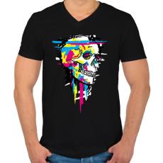 PRINTFASHION Színes koponya - Férfi V-nyakú póló - Fekete