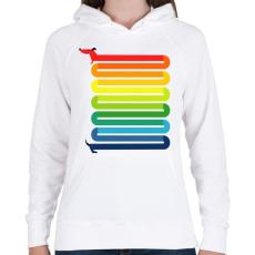 PRINTFASHION Szivárvány Kutya - Női kapucnis pulóver - Fehér