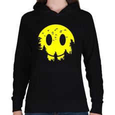 PRINTFASHION Szmájli hold - Női kapucnis pulóver - Fekete