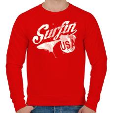 PRINTFASHION Szörf USA - Férfi pulóver - Piros