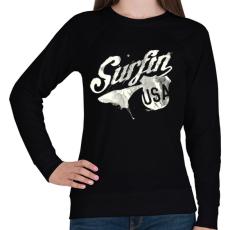 PRINTFASHION Szörf USA - Női pulóver - Fekete