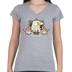 PRINTFASHION Született az USA-ban - Női V-nyakú póló - Sport szürke