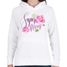PRINTFASHION Szuper Anya - Női kapucnis pulóver - Fehér
