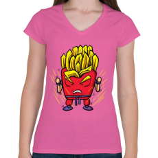 PRINTFASHION Szuper krumpli - Női V-nyakú póló - Rózsaszín