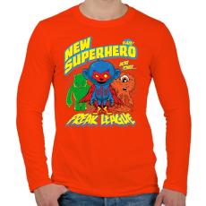 PRINTFASHION Szuperhős - Férfi hosszú ujjú póló - Narancs