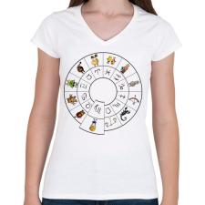 PRINTFASHION Szűz - Női V-nyakú póló - Fehér női póló