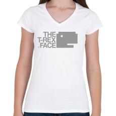 PRINTFASHION T-REX - Női V-nyakú póló - Fehér