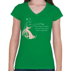 PRINTFASHION Tánc - Női V-nyakú póló - Zöld