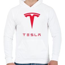 PRINTFASHION Tesla - Férfi kapucnis pulóver - Fehér