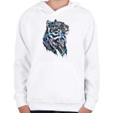 PRINTFASHION Tigris - Gyerek kapucnis pulóver - Fehér