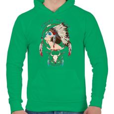 PRINTFASHION Törzsfőnök - Férfi kapucnis pulóver - Zöld