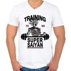 PRINTFASHION Training To Go Super Saiyan - Férfi V-nyakú póló - Fehér