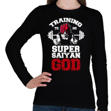 PRINTFASHION Training to go super saiyan GOD - Női hosszú ujjú póló - Fekete