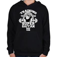 PRINTFASHION Training to go super saiyan - Gyerek kapucnis pulóver - Fekete
