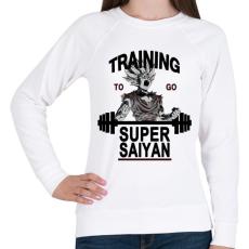 PRINTFASHION Training To Go Super Saiyan - Női pulóver - Fehér