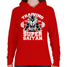 PRINTFASHION Training to super saiyan - Női kapucnis pulóver - Piros