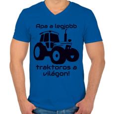 PRINTFASHION Traktoros Apa - Férfi V-nyakú póló - Királykék