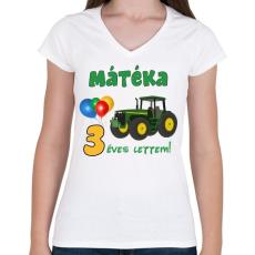 PRINTFASHION Traktoros szülinap - Női V-nyakú póló - Fehér