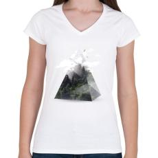 PRINTFASHION Triangle - Női V-nyakú póló - Fehér