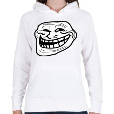 PRINTFASHION TrollFace - Női kapucnis pulóver - Fehér