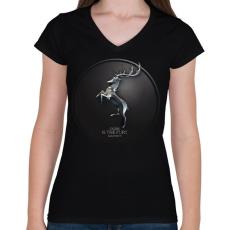 PRINTFASHION Trónok harca: Baratheon ház - Női V-nyakú póló - Fekete
