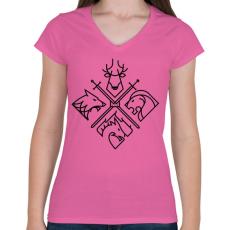 PRINTFASHION Trónok harca klánok - Női V-nyakú póló - Rózsaszín