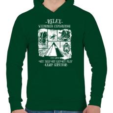 PRINTFASHION Túlélőtábor - Férfi kapucnis pulóver - Sötétzöld