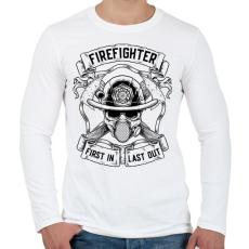 PRINTFASHION Tűzoltó - Elsőként bemenni, utolsóként kijönni! - Férfi hosszú ujjú póló - Fehér